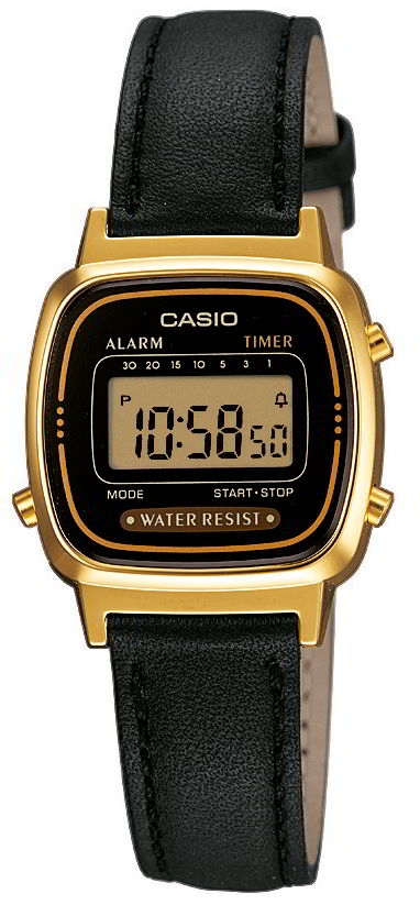 casio uhr damenuhr la670wegl 1ef schwarz gold lederarmband. Black Bedroom Furniture Sets. Home Design Ideas