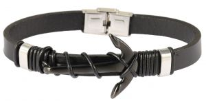 Akzent Lederarmband geflochten grau Armband Magnetverschluss 16 cm
