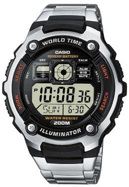 Casio Uhr AE-2000WD-1AVEF Digital Uhr silber schwarz Edelstahlarmband