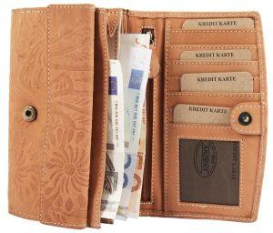 Geldbörse Leder Herren-Portemonnaie schwarz Akzent Hochformat 10 x 12 cm