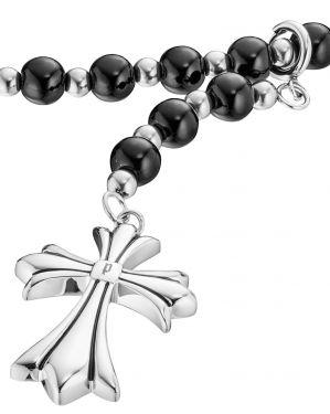 Police Halskette Kreuz Edelstahl Onyx Kugeln schwarz silber PJ25482PSB-01