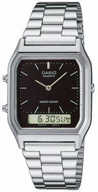 AQ-230A-1DMQYES Casio Retro Uhr schwarzes Ziffernblatt Digital