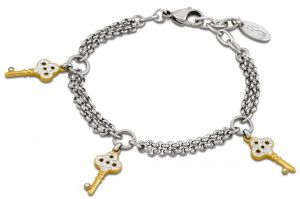 Lotus Style Armband LS1530-2/2 Schlüssel Strass silber-gold farbig Edelstahl
