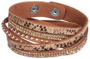 Wickelarmband Doppelarmband Modeschmuck-Armband braun 17 cm