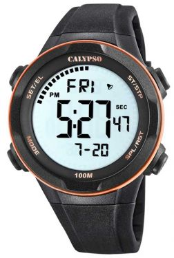 Calypso by Festina Digital Herrenuhr K5696/4 orange schwarz Sportuhr