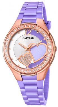 Calypso by Festina Uhr Mädchen- Damenuhr K5582/2 weiß pink Kautschuk-Armband Analog Uhr
