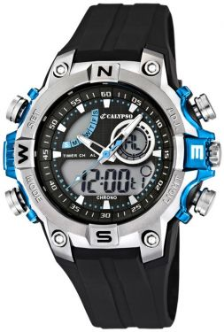 Calypso by Festina Uhr Digital Herrenuhr K5586/2 schwarz blau digital Armbanduhr