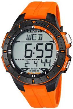 Calypso Uhr Digital Herrenuhr K5607/1 Orange schwarz Digitaluhr