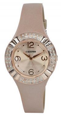 Damenuhr Calypso Armbanduhr K5659/2 rosa Silikonband Strass