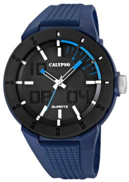 Calypso by Festina Herren Uhr schwarz weiß blau K5629/3 Silikon 10 ATM Armbanduhr