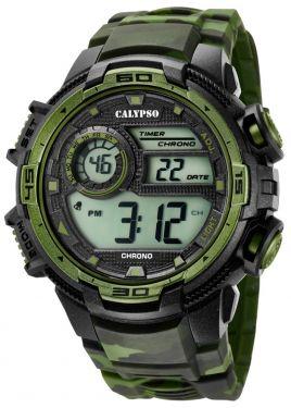 Calypso Armbanduhr Digital Herrenuhr K5681/6 Carbon Look grün
