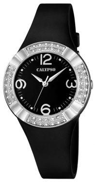 Damenuhr Calypso Armbanduhr K5659/4 schwarz silber Silikonband Strass