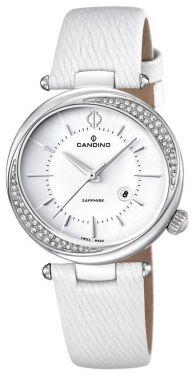 Candino Damen Uhr C4532/1 Armbanduhr Leder weiß 5 ATM Saphirglas Zirkone