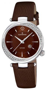 Candino Damenuhr C4532/2 Armbanduhr Uhr Leder braun silber 5 ATM Saphirglas Zirkone