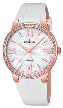 Candino Uhr Damen Armbanduhr C4598/1 Lederband weiß