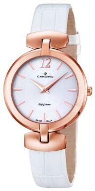 Candino Damenuhr C4567/1 Armbanduhr weiß rose Lederband