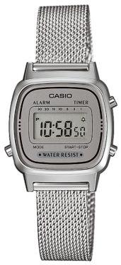 Casio Retro Damen Uhr LA670WEA-7EF Digitaluhr silber grau
