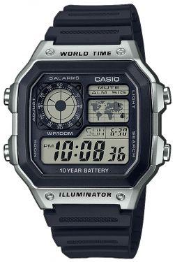 Casio Uhr AE-1200WH-1AVEF Digital Uhr schwarz 4 Zeitzonen Digitaluhr