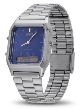 Casio Vintage Armbanduhr AQ-230EGG-2AEF Retro Uhr grau blau vorne