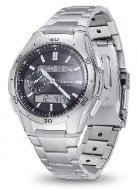Casio Herren Funkuhr WVA-M650TD-1AER Solar Armbanduhr Titanband