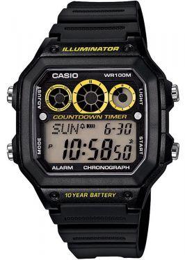 Casio Uhr Digitaluhr AE-1300WH-1AVEF Digital Uhr schwarz gelb