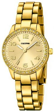 Armbanduhr Damenuhr Calypso Uhr K5647/2 gold-farbig Strass 30 mm