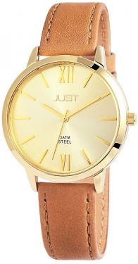 Just Damen Uhr braun Leder 48-S10106-BR Armbanduhr Strass