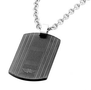 Police Halskette Edelstahl Kette Leder Kreuz Anhänger PJ25535PSS-01