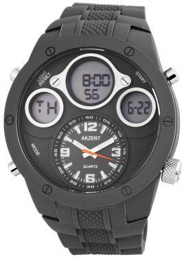 Herrenuhr Armbanduhr Schwarz silber Akzent Quarz Uhr Metallarmband