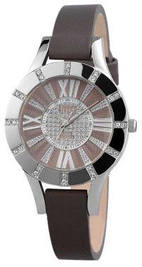 Just Damen Uhr Leder JU10059-003 Armbanduhr grau silber Strass