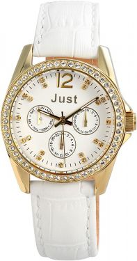 Just Damenuhr Chronograph Lederarmband 48-S8195-WH vergoldet Armbanduhr
