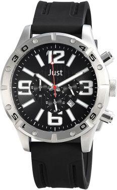 Just Chronograph Herrenuhr schwarz silber JU20118-001 Armbanduhr