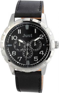 Just Chronograph Herrenuhr Armbanduhr Lederarmband schwarz 48-S4997-BK