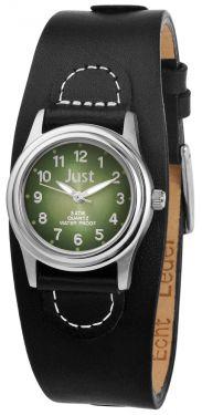Just Damenuhr 48-S9259GR Unterlege-Armband Leder schwarz grün