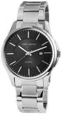 Just Herrenuhr Armbanduhr 48-S3455-BK-OR Edelstahl Uhr Datum silber orange