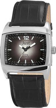 Just Herrenuhr Uhr schwarz Leder 48-S10102G-BK Armbanduhr