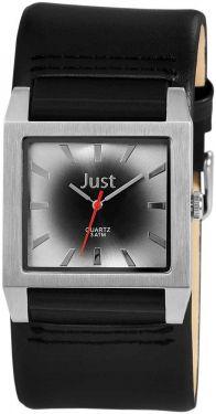 Just Uhr Herrenuhr 48-S2524G-SL Unterlege-Armband Leder schwarz grau