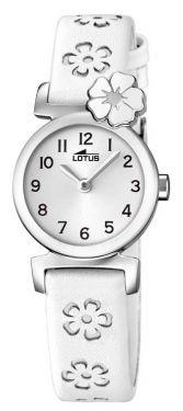 Lotus Teeny Armbanduhr 18174/1 Lederband weiß grau Blumen