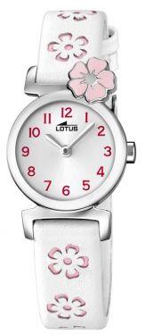 Lotus Teeny Armbanduhr 18174/2 Lederband weiß rosa Blumen