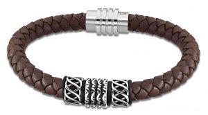 Lotus Style Herren Leder Armband LS1380-2/1 braun Zopfmuster geflochten