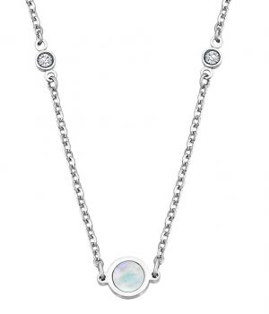 Damen Halskette Lotus Style LS1675-1/1 Edelstahl Kreuz Anhänger silbern Strass