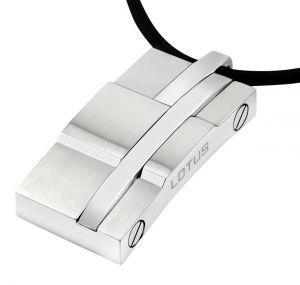 Lotus Style Halskette Leder LS1514-1/2 Edelstahl Anhänger Platte schwarz