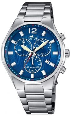 Lotus Herren Armbanduhr Chronograph Edelstahlband silber blau 10125/3