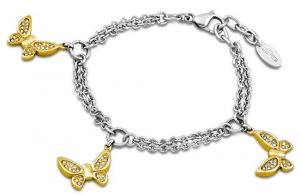 Lotus Style Armband Strass Schmetterling Bicolor LS1529-2/2