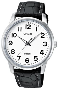 Casio Uhr Herrenuhr MTP-1303PL-7BVEF weiß Leder Armbanduhr