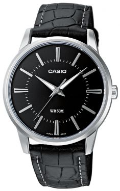 Casio Uhr Herenuhr Armbanduhr MTP-1303PL-1AVEF Leder schwarz