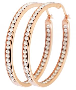 Ohrringe Edelstahlohrringe 50 mm Edelstahl rosegoldfarbig weiße Steinchen