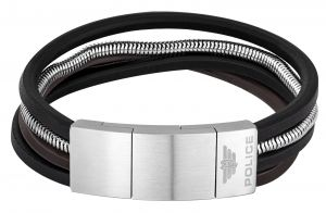 Police Leder Edelstahl Armband PJ25528BSS-01-L NEMESIS 23 cm