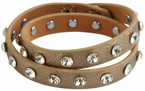 Lederarmband Wickelarmband goldfarbig Strass Modeschmuckarmband