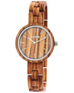 Damen Holz-Armbanduhr beige Raptor Uhr